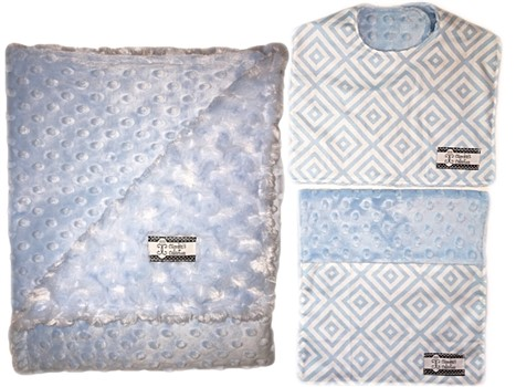 3-Piece Gift Set- Baby Blue Diamonds Bib, Burp and Stroller Blanket