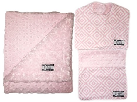 3-Piece Gift Set- Baby Pink Diamonds Bib, Burp and Stroller Blanket