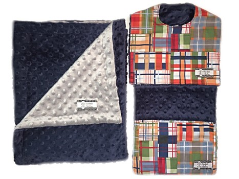 3-Piece Gift Set- Madras Patchwork with Gray Bib, Burp and Stroller Blanket