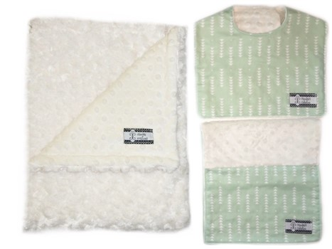 3-Piece Gift Set- Mint Triangles Bib, Burp and Stroller Blanket