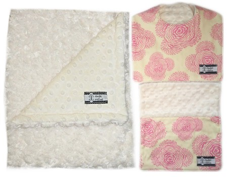 3-Piece Gift Set- Modern Pink Bib, Burp and Stroller Blanket