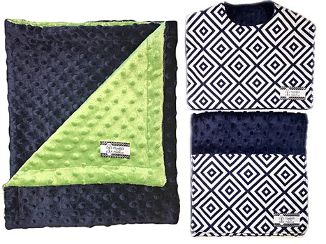 3-Piece Gift Set- Navy Diamonds with Green Bib, Burp and Stroller Blanket