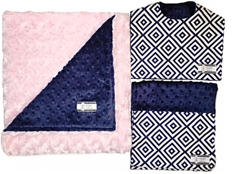 3-Piece Gift Set- Navy Diamonds with Pink Bib, Burp and Stroller Blanket