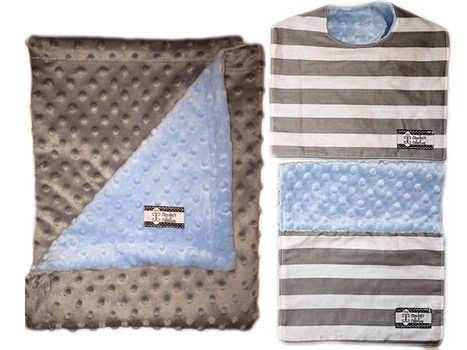 3-Piece Gift Set- Gray Stripes Bib, Burp and Stroller Blanket