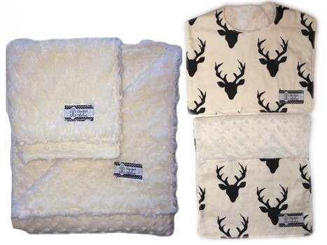 4-Piece Gift Set- Antlers Bib, Burp, Lovie, and Stroller Blanket with Cream