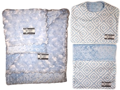 4-Piece Gift Set- Baby Blue Diamonds Bib, Burp, Lovie, and Stroller Blanket