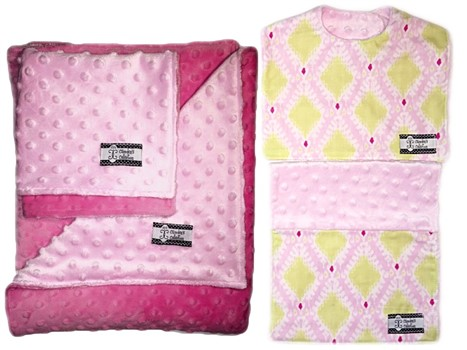 4-Piece Gift Set-  Pink Ikat Bib, Burp, Lovie, and Stroller Blanket