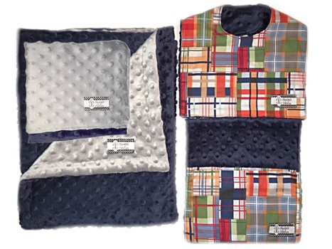 4-Piece Gift Set- Madras Bib, Burp, Lovie, and Stroller Blanket with Gray