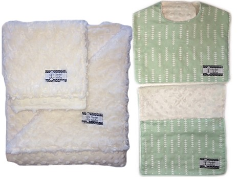 4-Piece Gift Set- Mint Triangles Bib, Burp, Lovie, and Stroller Blanket