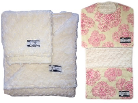 4-Piece Gift Set- Modern Pink Bib, Burp, Lovie, and Stroller Blanket