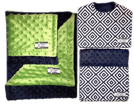 4-Piece Gift Set- Navy Diamonds Bib, Burp, Lovie, and Stroller Blanket