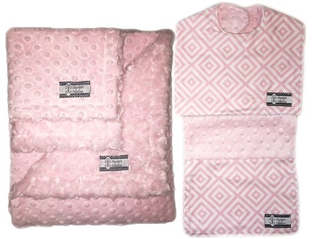 4-Piece Gift Set-  Baby Pink Diamonds Bib, Burp, Lovie, and Stroller Blanket