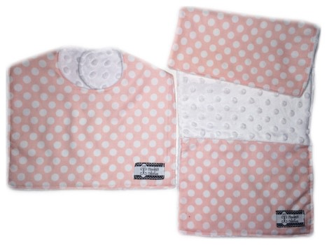 Bib and Burp Cloth Set - Blush Pink Polka Dots on White