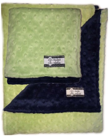 Minky Gift Set- Mint Green and Navy Lovie and Stroller Blanket