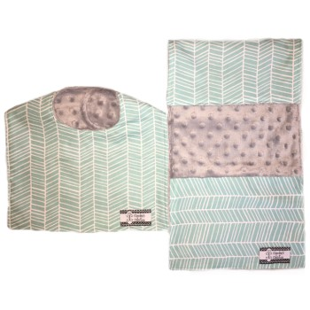 Bib and Burp Cloth Set - Aqua Herringbone