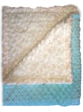 Stroller Blanket - Aqua Minky Dimple Dot and Cream Minky Swirl