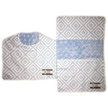 Bib and Burp Cloth Set - Baby Blue Diamonds
