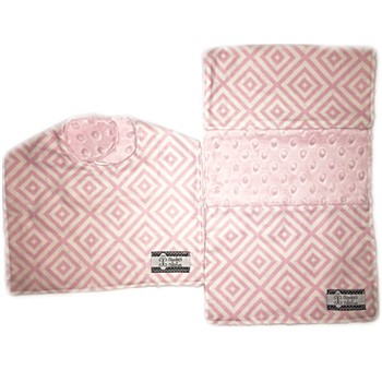 Bib and Burp Cloth Set - Baby Pink Diamonds