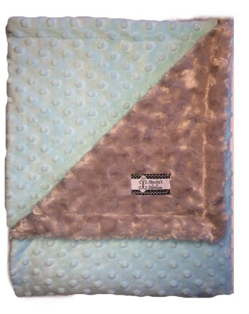 Stroller Blanket - Baby Blue Minky Dot with Gray Minky Swirl