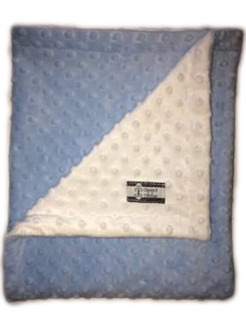 Stroller Blanket - Baby Blue Minky Dimple Dot with White Dimple Dot