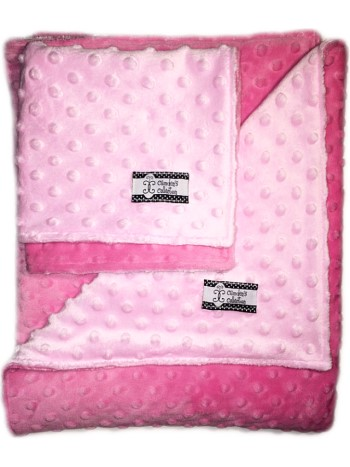 Minky Gift Set- Baby Pink on Hot Pink Lovie and Stroller Blanket