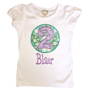 Birthday Tee - Purple on Teal Medallion