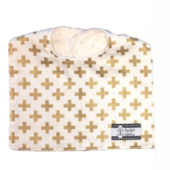 Baby Bib- Gold Crosses