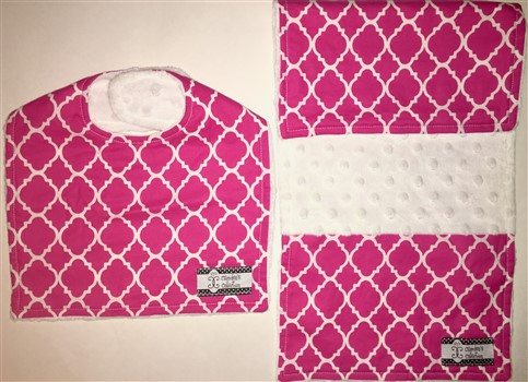 Bib and Burp Cloth Set - Magenta