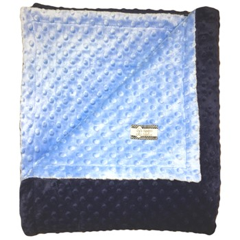 Big Kid Throw Blanket - Baby Blue and Navy Minky Swirl