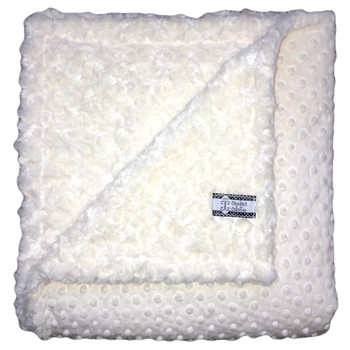 Big Kid Throw Blanket - Cream Minky Dot and Cream Minky Swirl