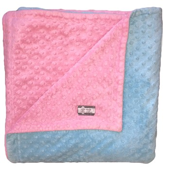 Big Kid Throw Blanket - Aqua and Hot Pink Minky Dots