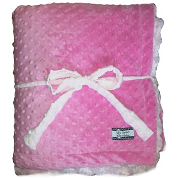 Big Kid Throw Blanket - Hot Pink Minky Dot and Pink Minky Swirl
