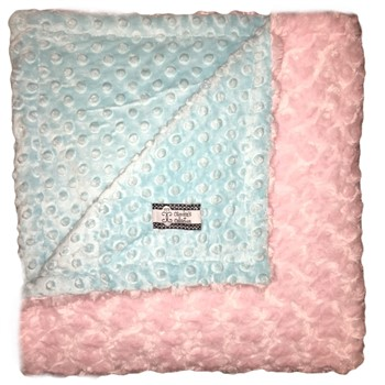Big Kid Throw Blanket - Aqua Minky Dot and Baby Pink Minky Swirl