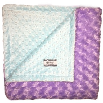 Big Kid Throw Blanket - Aqua Minky Dot and Purple Minky Swirl