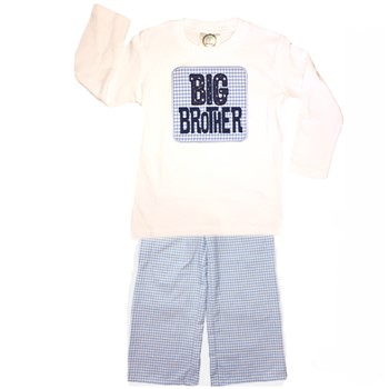 Straight Pants Big Brother Set- Blue Gingham
