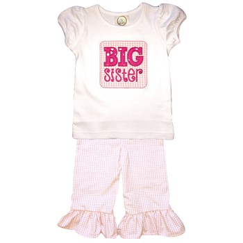 Ruffle Pants Big Sister Set- Pink Gingham