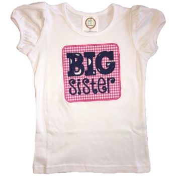 Applique Tee - Big Sister on Hot Pink with Navy