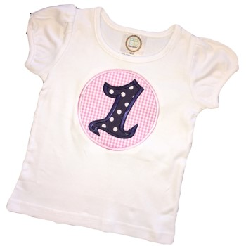 Birthday Tee - Navy Polka Dots on Pink Gingham