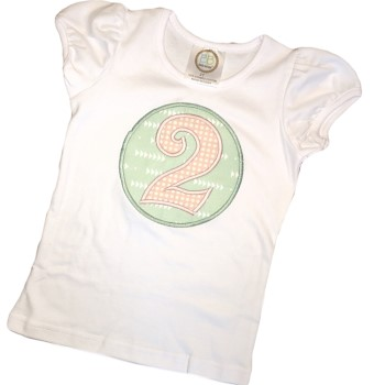 Birthday Tee - Ballet Pink Dots on Mint Green Triangles