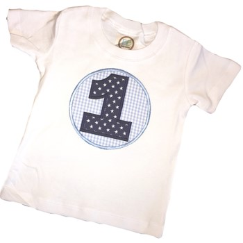 Birthday Tee - Stars on Blue Gingham