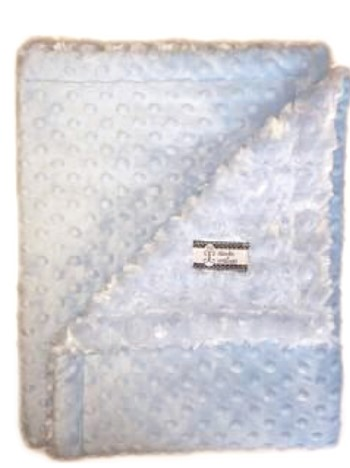 Stroller Blanket - Baby Blue Minky Dot with Baby Blue Minky Swirl