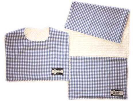 *Bib and Burp Cloth Set - Baby Blue Gingham