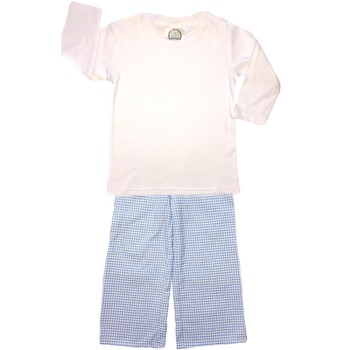 Straight Pants Basic Set- Blue Gingham