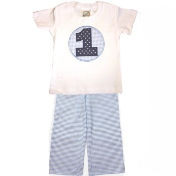 Straight Pants Birthday Set- Blue Gingham
