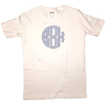 Monogrammed Applique Tee -Blue Gingham