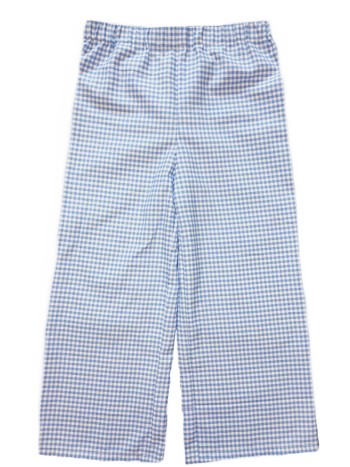 Straight Pants- Blue Gingham