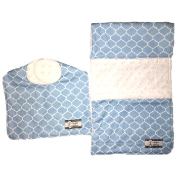 Bib and Burp Cloth Set - Blue Lattice
