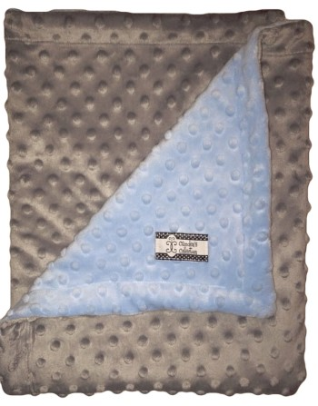 Stroller Blanket - Gray Minky Dimple Dot with Baby Blue Dimple Dot