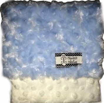 Lovie - Baby Blue Swirl Rose and White Dimple Dot Minky