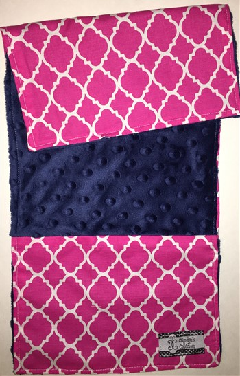 Baby Burp Cloth- Magenta Lattice